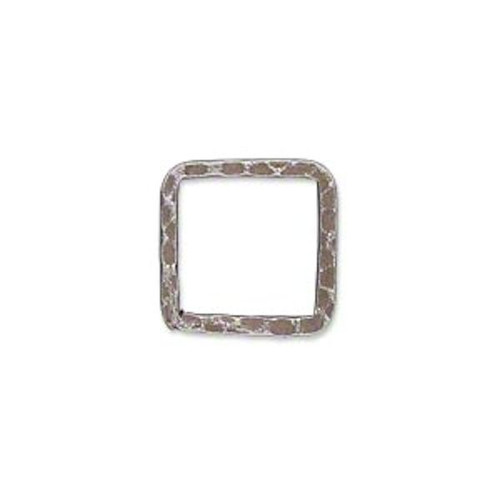 10 Antiqued Silver Plated Steel Hammered 16x16mm Square Links *