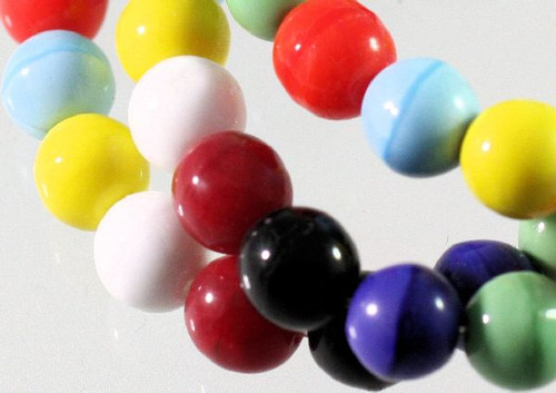 1 Strand Opaque Primary Colors  Glass 8mm Round Bead Mix  *