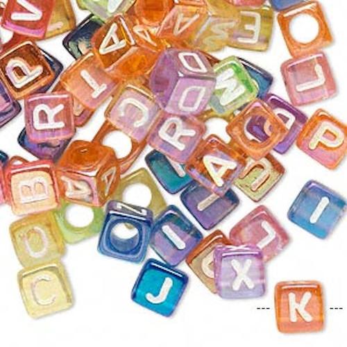 100 Rainbow Acrylic 6x6mm Alphabet Cube Beads with 3.5mm Hole