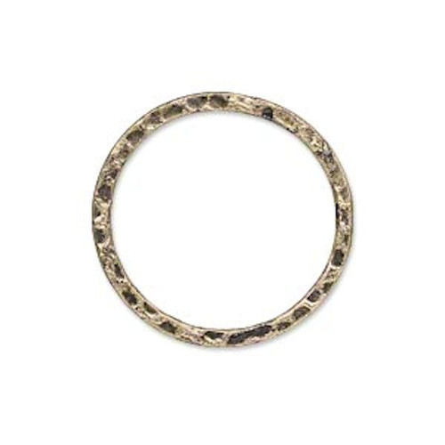 10 Antiqued Gold Plated Steel Hammered Round Links ~ 25mm