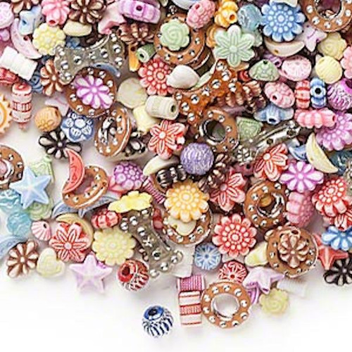 1/4 Pound Multi Acrylic Shapes & Colors ~ 740 Beads ~ Moon, Flowers, Sun & More!*