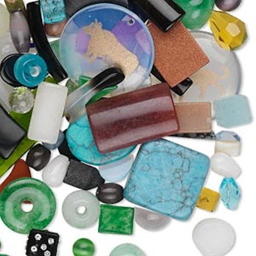1/2 Pound Gemstone & Glass Shape & Color Mix Approximately 200-600 Components *