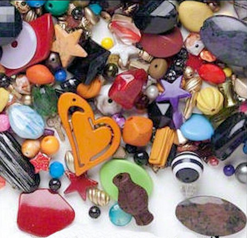 1 Pound Acrylic 4x4-50x54mm Bead Mix of Approximately 1440 Beads