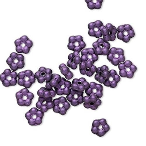 1 Strand Czech Pressed Glass Dark Purple Satin 5mm Flower Spacer Beads *