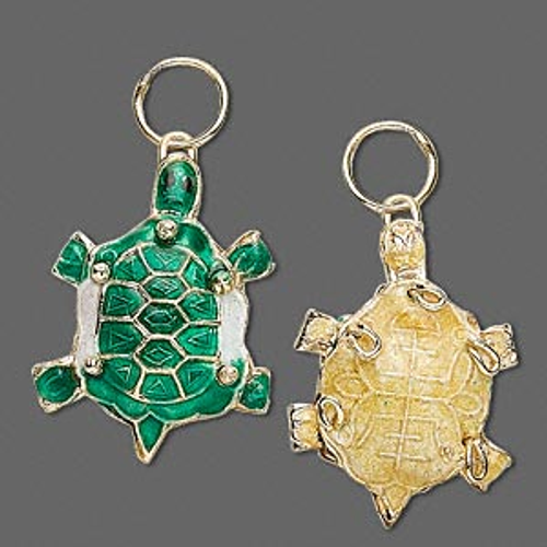 2 Gold Plated Small Green Turtle Cloisonné Charms  *