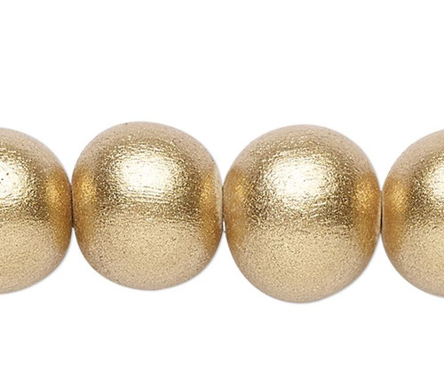 1 Strand Metallic Gold  9-10mm Round Wood Spacer Beads