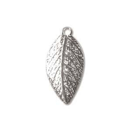 144 Silver Plated Brass Curved Leaf Charms ~ 8x15mm Leaves