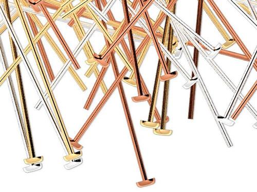 "144 Gold Silver Copper Plated Brass 24 Gauge 2"" Long Head Pins Mix"
