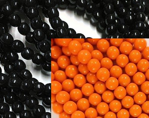 100  Czech Pressed Glass Orange & Black Round Bead Mix ~ 6mm * Halloween