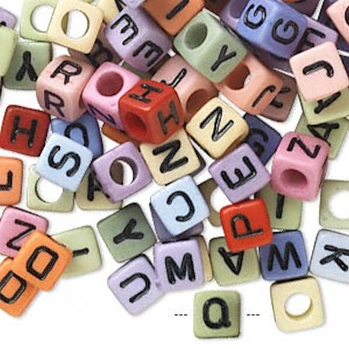 100 Acrylic Opaque 4 sided Alphabet 6x6mm Square Cube Bead Mix with 3.5mm Hole