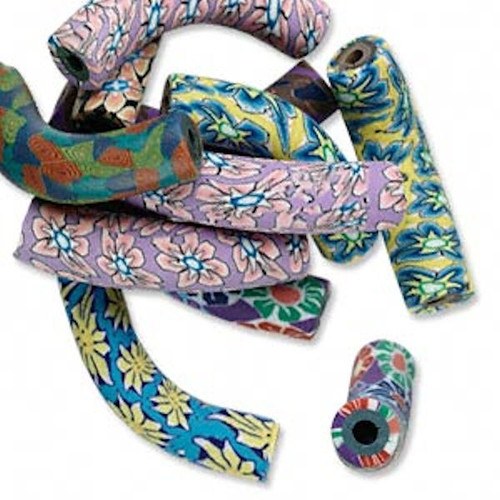 10 Polymer Clay Curved Noodle Tube Bead Mix  ~ 42x9mm   *