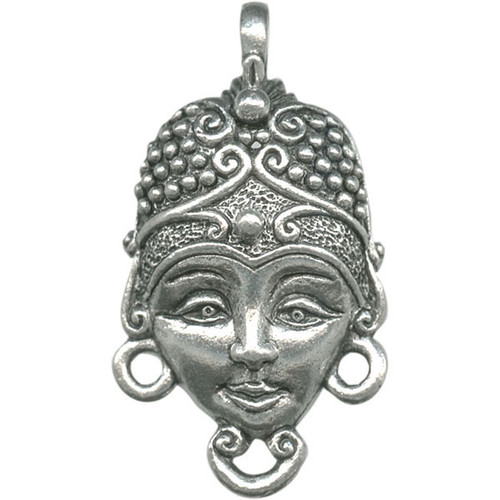1 Antiqued Silver Pewter Nomad Face Charm ~  28x15x6mm