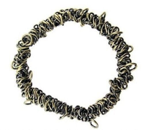 1 Brass Oxide Bungee Bracelet ~ Stretchable Metal Chain ~ Add Charms
