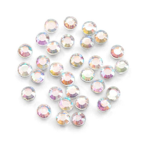 1000 Hot Fix Aurora Borealis Clear Glass Flat Back 3mm Round Rhinestones *