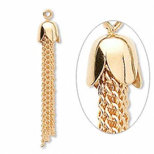 10 Gold Plated Steel Curb Chain Tassels ~ 39x8mm
