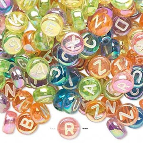 200 Rainbow Acrylic 2 Sided Alphabet Coin Beads ~ 7mm