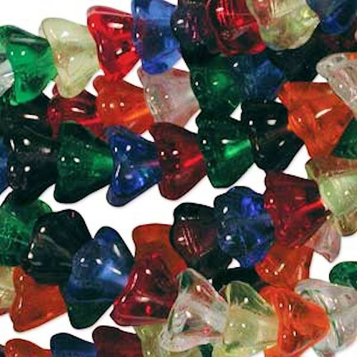 25 Large Transparent Czech Glass 11x13mm Flower Cone Bead MIX