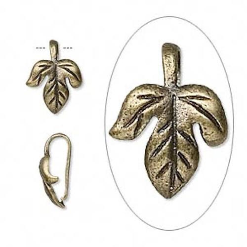 10 Antiqued Brass Maple Leaf Bails 12x10x5mm Leaf  Connectors *