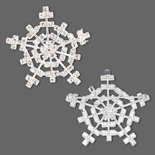 1 Silver Plated & Clear Rhinestone Snowflake Brooch Pin ~ 38mm  *