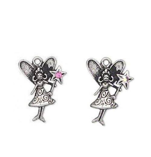 1 Antiqued Silver Pewter Fairy with Wand Charm ~ 23x17mm