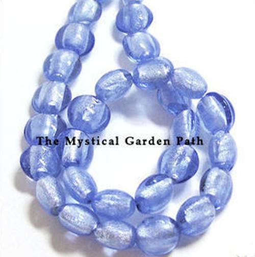1 Strand Light Sapphire Blue Lampwork Glass  12mm Puffy Coin Foil Beads *