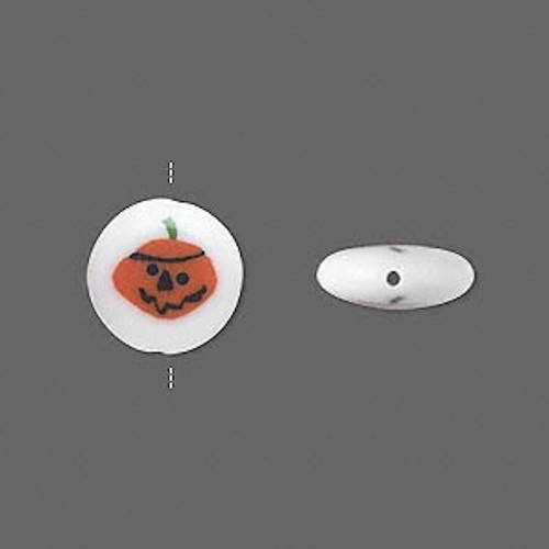 2 Double Sided Glass Halloween Pumpkin Coin Beads ~  12mm *