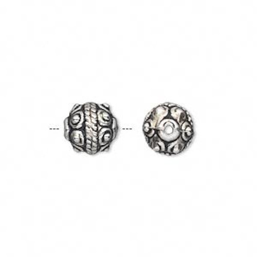 50 Grams Antique Silver Metalized Plastic 9mm Fancy Round Beads