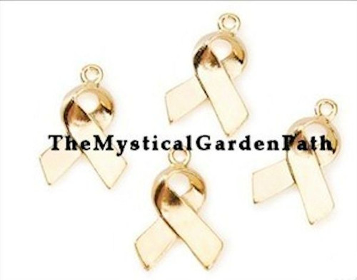 12 Gold Plated Brass Ribbon Awareness Charms ~ 20x13mm