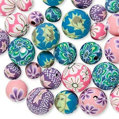 30 Fimo Clay Round Bead Mix ~ 6-10mm Pink, Purple & More