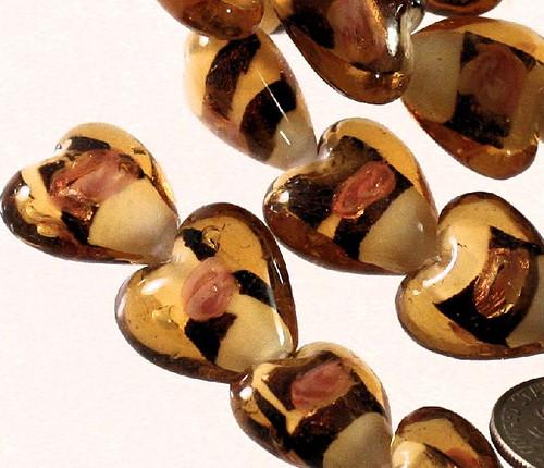 1 Strand Lampwork Glass Dark Brown Honey White 14-15mm Heart Beads  *