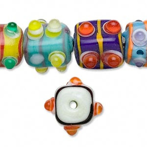 1 Strand Lampwork Opaque Glass 14x11mm Bumpy Rectangle Bead Mix