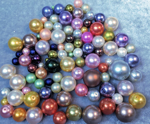 1/4lb Fine Czech Pressed Glass Pearl 3-16mm Round Bead Mix  *