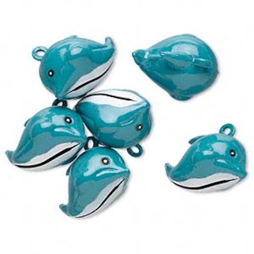 6 Adorable Enameled Turquoise Blue Brass 25x18mm Dolphin Bell Charms