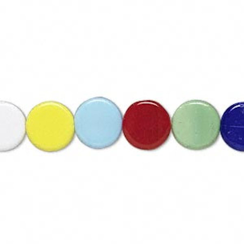 1 Strand Solid Glass Opaque 9x3mm Coin Flat Round Beads Mix *