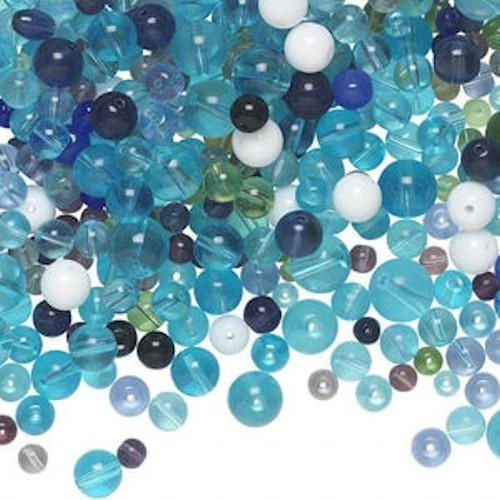 1 Pound (570 Beads) Glass Multicolor Aqua, Blues 6-14mm Round Bead Mix *