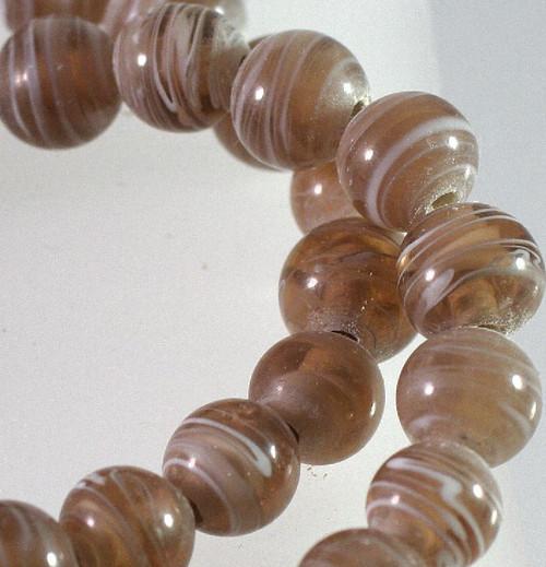 1 Strand Lampwork Glass Brown with White Swirl 9-10mm Round Beads  *