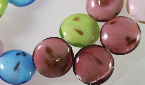 1 Strand Lampwork Glass Multi 23mm Puffy Coin Beads *