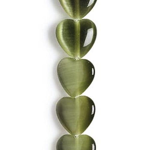 1 Stand Olive Green Cat's Eye Fiber Optic Glass 8mm Puffy Heart Beads *