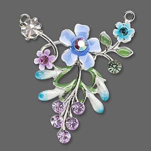 1 Blue Flower Leaves Focal Connector with Crystals ~ 37x41mm  *