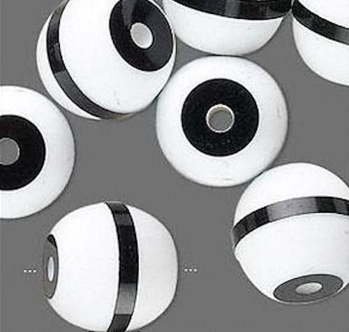 20 Black White Striped Acrylic Round Beads 16mm *