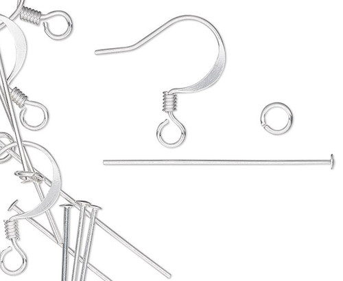 6 Pair Silver Plated Earring Kit Including Headpins & Jumprings (60 Pieces)