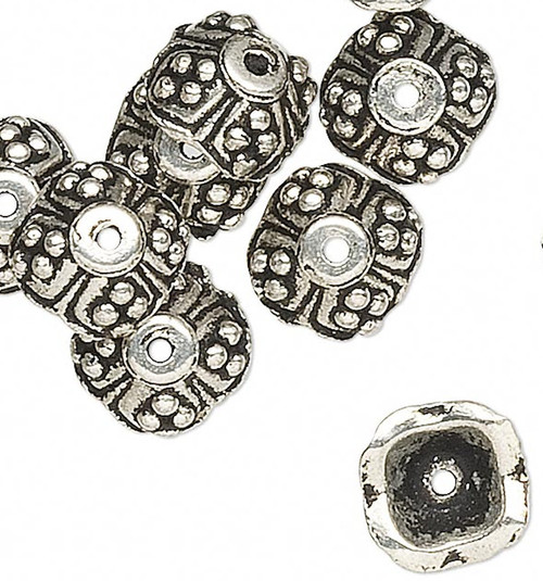 10 Antiqued Silver Pewter 7x3mm Flat SQUARE Bead Caps to Fit 5-6mm Beads *
