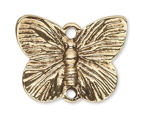 10 Antiqued Gold Pewter 18x14mm Butterfly Link Connectors