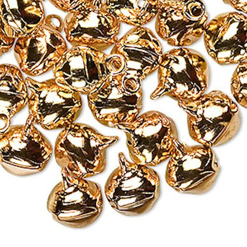 100 Steel Gold Jingle Bells with Tiny Clappers ~ 10mm Charm