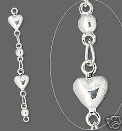 6 Silver Plated Brass Heart Chain Extender ~ 33mm long