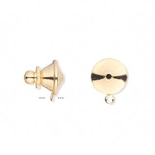 10 Gold Plated Brass 11x10mm Push In Tie Tac Clutches with Loop *