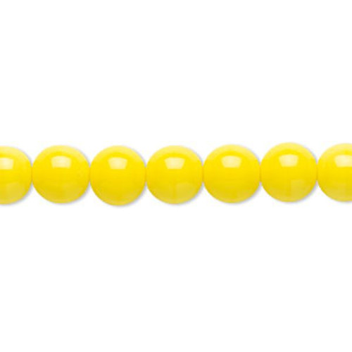 1 Strand Czech Pressed Glass Opaque Yellow Druk Round Beads ~ 8mm