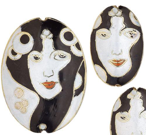 3 Piece Set Cloisonné Black White Gold Art Deco Lady Oval Beads