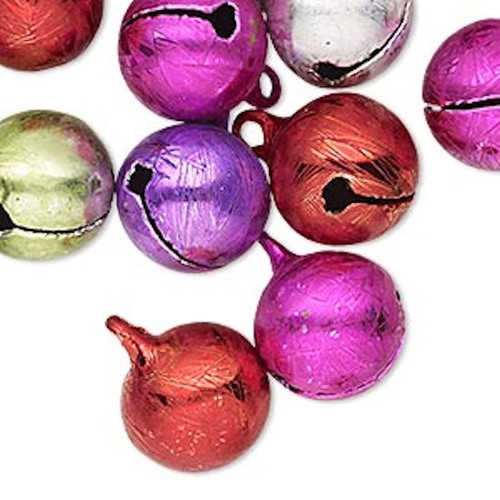 20 Ice Flake Multi Colors Jingle Bells with Clapper ~  14mm  *
