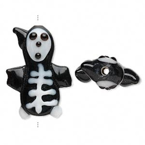 2 Lampwork Glass Black & White Double Sided 27x21mm Skeleton Halloween Beads